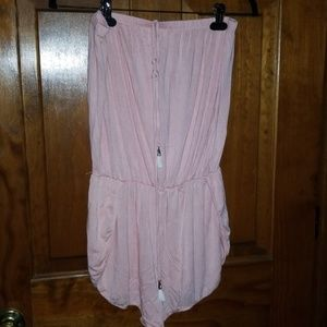 Lucky Brand pale pink romper w/fringe tie front